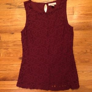 NWOT Banana Republic Deep Red Vine Patterned Top